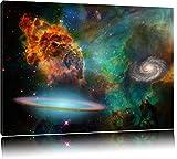 Galaxy mit Sternennebel Format: 100x70 auf Leinwand, XXL