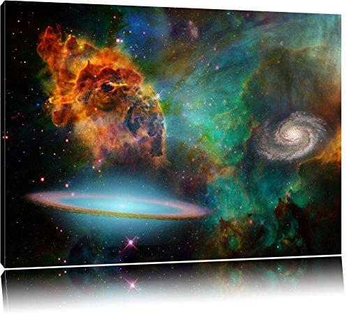 Galaxy mit Sternennebel Format: 100x70 auf Leinwand, XXL riesige Bilder fertig gerahmt mit Keilrahmen, Kunstdruck auf Wandbild mit Rahmen, günstiger als Gemälde oder Ölbild, kein Poster oder Plakat