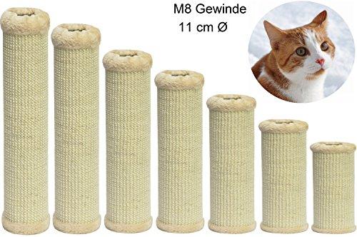 nanook Kratzsäule/Sisalsäule/Ersatzstamm für Kratzbäume - Ø 11 cm, Gewinde M8 - aus Teppichgewebe - beige - Länge 25 cm
