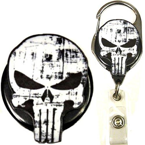 Superhero Real Charming Retractable Metal Carabiner ID Badge Holder Badge Reel (Punish MC)