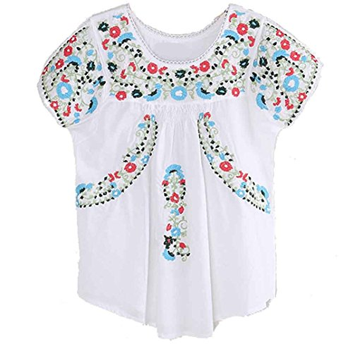 Kafeimali Women's Peasant Tops Mexican Blouse Colorful Flowers Embroidered Boho T Shirt (White)