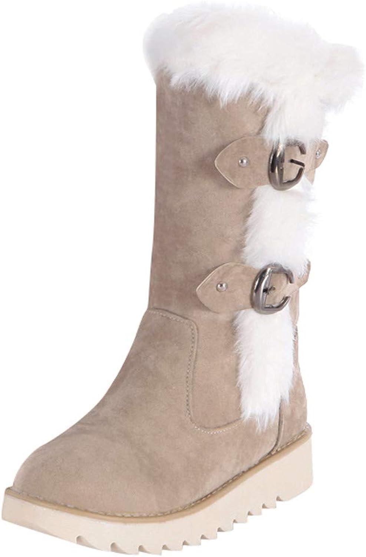 Anxinke Women Teen Girls Winter Buckle Strap Flat Heel Mid-Calf Snow Boots