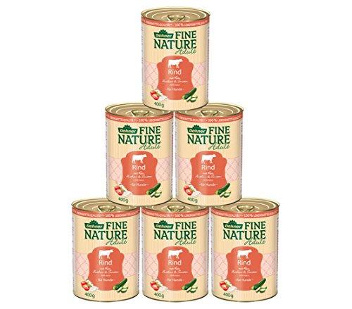 Dehner Fine Nature Hundefutter Adult, Lebensmittelqualität, Rind, 6 x 400 g (2.4 kg)
