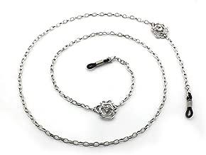 Spec Mates Silver Rose Accented Eyeglass Holder, Eyeglass Chain for Women, Eyeglass Necklace