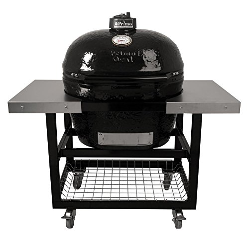 Primo Ceramic Charcoal Smoker Grill On Cart With Side Tables...