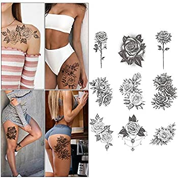 9 Sheets Rose Tattoo Sleeve Rose Temporary Tattoos Black Flower Tattoo Stickers For Women Men Party Masquerade