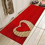 WGOO Carpet Küchenmatten Anti-Rutsch waschbar Innenbereich Teppiche Küchenteppich Küchenläufer Matte Set,Red Romantic Love Print 8MM Dicke Badezimmer Teppich,60X180CM