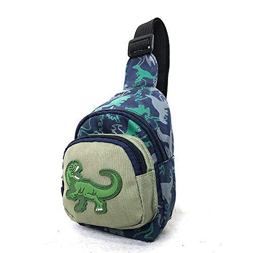Kids Cartoon Dinosaur Chest Bag Fashion Waist Fanny Packs Toddlers Sling Shoulder Backpack Crossbody Bag Daypack for Kids (Green)