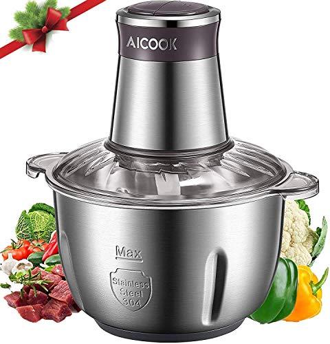 AICOOK Zerkleinerer, Universalzerkleinerer mit 2.5L Edelstahlschüssel, 350W Elektrisch Multizerkleinerer mit 2 Geschwindigkeitsstufen 4 Edelstahlmesser, für Fleisch Zwiebeln Gemüse Obst Babynahrungmit