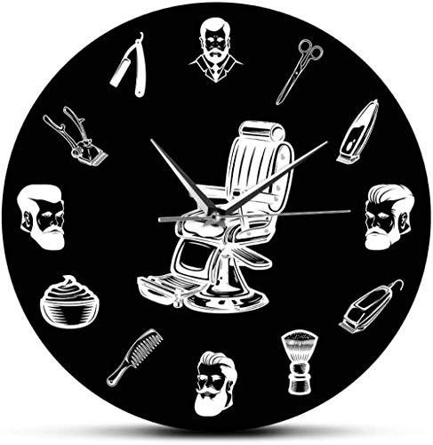 Reloj De Pared Peluquería Logo Silla De Barbero Reloj De Pared Peluquería Equipo De Peluquería Hombres Peluquería Peluquería Reloj De Pared Negro Retro Barrido Silencioso 30X30Cm