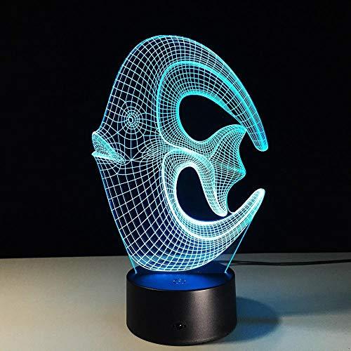 3D Luz De Noche,Luz De Ilusión De Peces 3D, Luz De Decoración De Dor