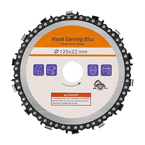 Kreissägeblätter für 125mm, Flex Trennscheibe Ideal für Holz, Metall & Alu, Holz Kreissägeblatt für Winkelschleifer, Wood Carving Disc zum Schnitzen, Schneiden (Hellgelb, 1)