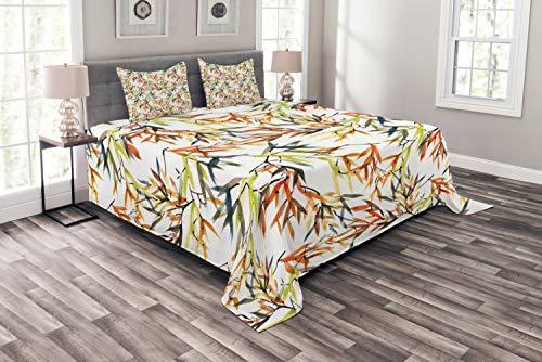 ABAKUHAUS asiatisch Tagesdecke Set, Ethnische Folk Bambusse, Set mit Kissenbezügen Ohne verblassen, für Doppelbetten 220 x 220 cm, Mehrfarbig