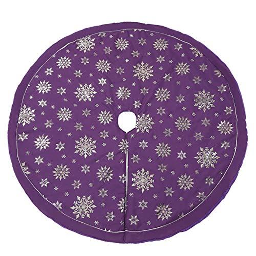 GJF Christbaumständer Weihnachtsbaum-Rock-Weihnachtsbaum-Dekoration Weihnachtsbaum Bottom Schürze DREI Schichten Plus Baumwolle 120cm Rosa Lila (Color : Purple)