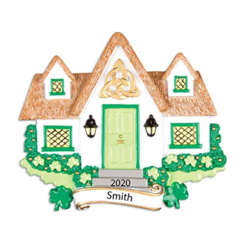 Personalized New Irish House Christmas Tree Ornament 2021 - Family Garnished Blessing Celtic Knot Shamrock Greens Neighbor Gift 1st First St. Patrick's Ireland Luck Door Year - Free Customization