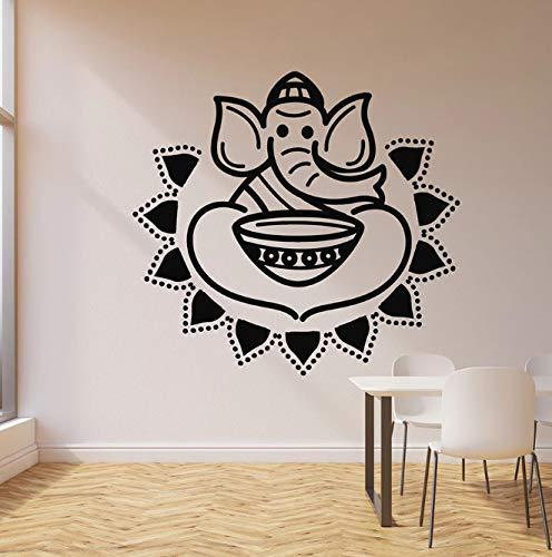 Olifant En Kom Muur Sticker Indiase Keuken Hete Pittige Voedsel Vinyl Venster Sticker Restaurant Keuken Interieur Art Muurschildering 57 X 61 Cm