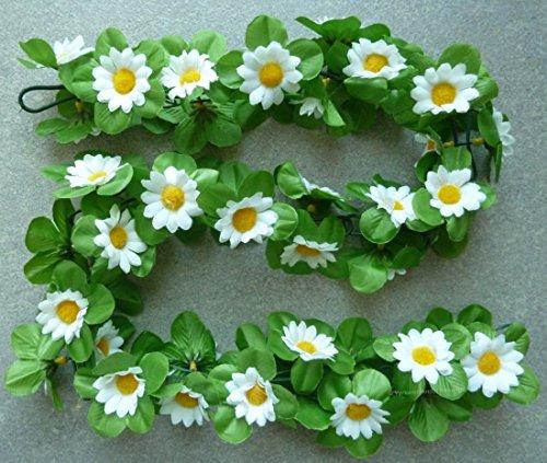 CBK-MS® Blumengirlande Sonnenblumen weiß ~ ca. 120 cm ~ zum verschönern Ihres Fahrrades oder Ihrer Wohnung