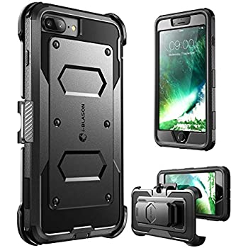 i-Blason Armorbox Case for iPhone 8 Plus/iPhone 7 Plus Built in Screen Protector Full Body Heavy Duty Protection Reduction / Bumper Case  Black