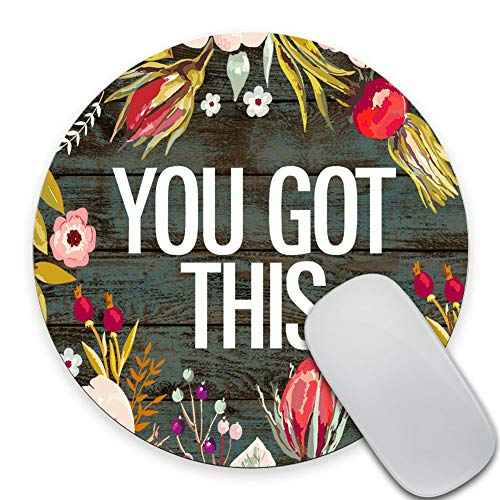 SSOIU You Got This Quotes Round Mouse Pad Custom, Inspirational Quote Vintage Colored Floral Wreath Print Rustic Old Wood Art Mouse Pads Cute Funny Circular Mousepad