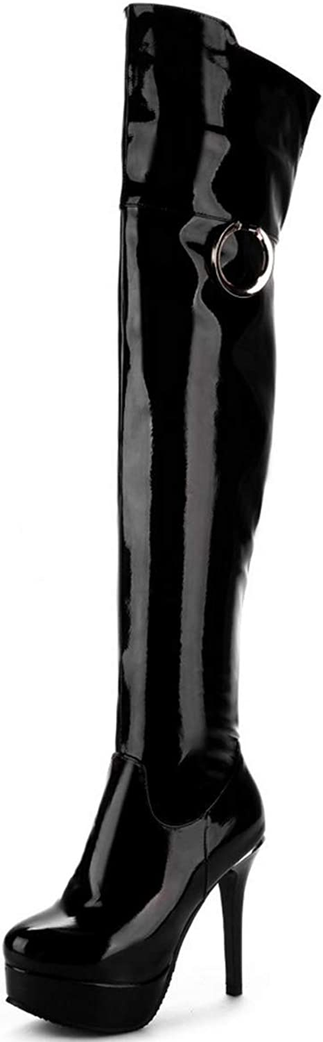 Womens Winter Boots Fashion Over Knee Boots Stiletto Heel Sexy Long Boots Black Red White