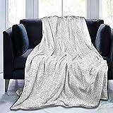 Manta de forro polar ultra suave, color plateado, con diseño de copos de nieve congelados con bordes geométricos afilados, 127 x 101 cm, cálida y suave para el sofá de la cama