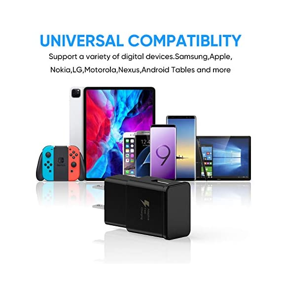 Adaptive Fast Charging Wall Charger Adapter Compatible Samsung Galaxy S6 S7 S8 S9 S10 / Edge/Plus/Active, Note 5,Note 8, Note 9,LG G5 G6 G7 V20 V30 ThinQ Plus EP-TA20JBE Quick Charge (2 Pack) 4 Fast charging compatible with: Samsung Galaxy S6/ S6 edge/ S6 Plus/ S6 Active/ S7/ S7 edge/ S7 Plus/ S7 Active/ S8/ S8 Plus/ S8 Active/ S9/ S9 Plus/ S9+/ S10/ S10 Plus/ S8/ S8+/ Note 8/ Note 9, LG G5 G6 G7 V20 V30 ThinQ plus and other quick charger 2. 0 ( QC2. 0 )Supported devices. ( Samsung fast charger ) Adaptive fast charge: adaptive fast charger Charge for 30 minutes, up to 50% battery level, 75% faster than standard chargers. Perfect design: Lightweight, compact design that fits your storage requirements. You can take it when you travel, make it easy to charger your smartphones specification: Input 100-240V/ output 9V = 1. 67a or 5. 0V = 2. 0a.