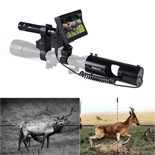 Night Vision Scope for Riflescope Long Viewing Range Night Hunting Clear Vision with Camera Infrared Flashlight and 4.3 inch Display Screen
