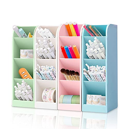 Pack de 4 portalápices multicolor multifuncional para organizador, portalápices de escritorio, 16 ranuras para bolígrafos, gomas de borrar para oficina, escuela, hogar, etc.