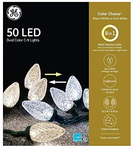 GE Color Choice 50-Count 32.6-ft Multi-Function Warm/Cool White Color Changing C9 LED Plug-in Christmas String Lights 89220LO Energy Star