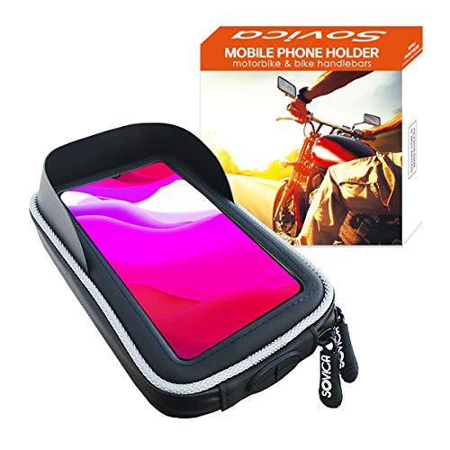 Soporte movil Moto Bicicleta Bici Impermeable Funda Protectora Visera antireflejos Valida para Smartphones hasta 7' sujecion al Manillar Doble Tornillo