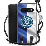 DeinDesign Carry Case kompatibel mit Samsung Galaxy S10 Plus Handykette Handyhülle zum Umhängen MSV Duisburg Fahne Fussball Bundesliga