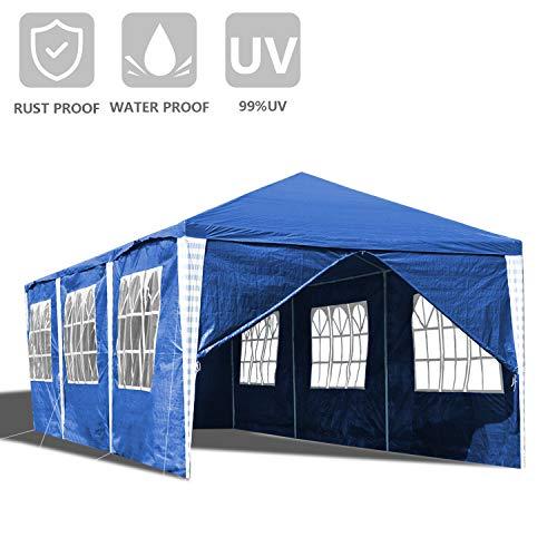 wolketon Pavillon Wasserdicht 3x9 m Weiß Gartenpavillon mit 6 Seitenwände Polyethylen Bierzelt Tür mit Reisverschluss für Garten Party Hochzeit