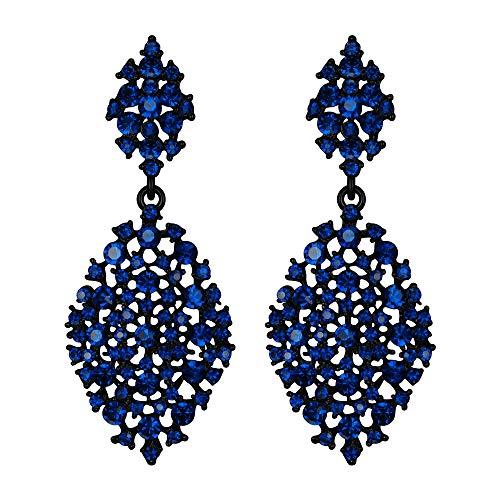 EVER FAITH Orecchini Donna Cristallo austriaco festa Vuoto-fuori lacrima Pierced Orecchini pendenti Navy Blu Nero-fondo