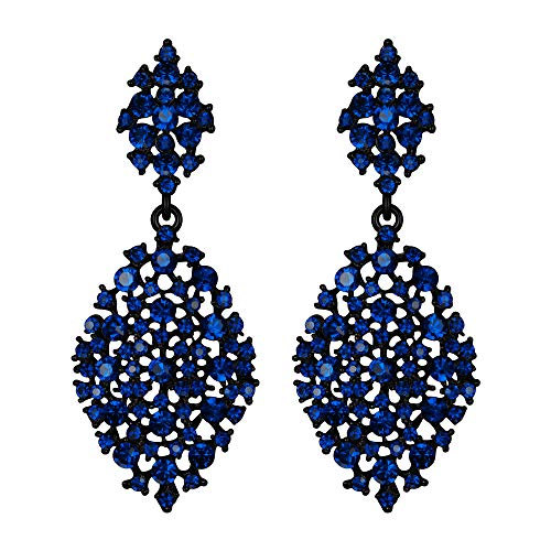 EVER FAITH Mujer Cristal Austríaco Fiesta Ahuecado Lágrima Perforado Colgante Pendientes Azul Marina Tono Negro