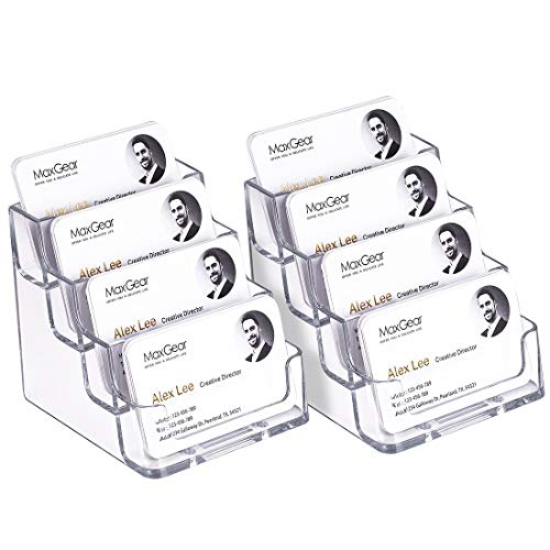 MaxGear Clear Business Card Holder 4 Pocket Business Card Display, Business Card Stand for Desk or Counter with 4 Tier, 160 Card Capacity, 2 Pack