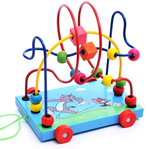 Bead Maze Actividad de Madera Cube Actividad Centro multifunción Bead Maze Juguete Regalo para niños Niños Niños Niñas para Chicos Chicas (Color : Blue, Size : One Size)