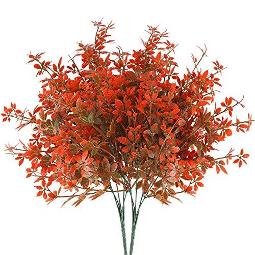 HUAESIN 2pcs Künstliche Pflanzen Deko Herbstblätter Kunstpflanzen Plastik Pflanze Zweige Künstliche Balkonpflanzen für Innen Draußen Balkon Garten Tischdeko Hause Hochzeit Dekoration