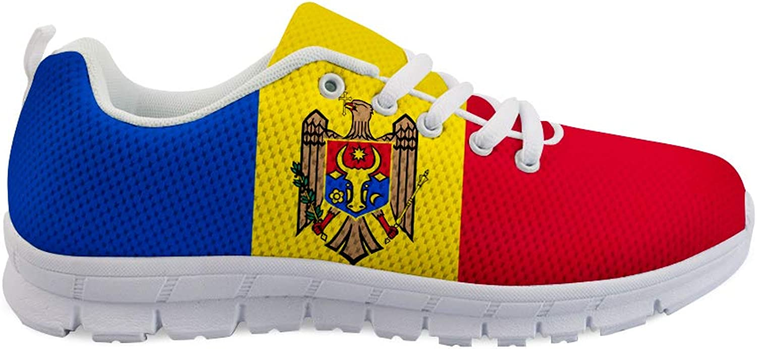 Owaheson Lace-up Sneaker Training shoes Mens Womens Moldova Flag