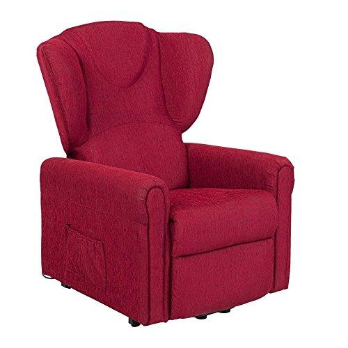 Meinrelaxsessel Sessel mit Aufstehhilfe MAGIC, 2 Motoren. Large. Chinaroter Stoffbezug