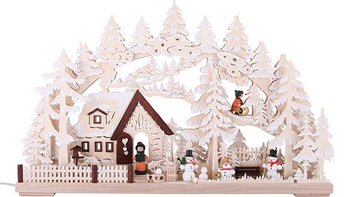 Authentic German Erzgebirge Handcraft 3D Candle Arch Winter Scenery with White Frost. electr. Candles - 62cm x 39cm / 24.41inch x 15.35inch - RATAGS