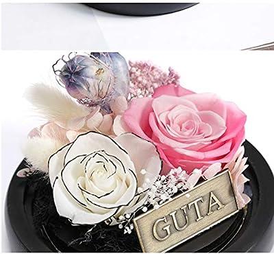 永遠のフラワーギフトボックスガラスカバー誕生日プレゼントローズバレンタインデープレゼントピンク+ホワイト