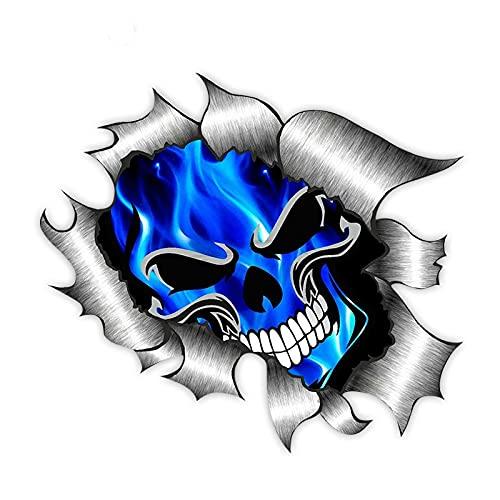 Etiqueta engomada del Coche calcomanías de decoración Motocicleta Esqueleto eléctrico Llama Azul Accesorios de decoración Creativo PVC Impermeable dwaterproof, 13 cm * 13 cm