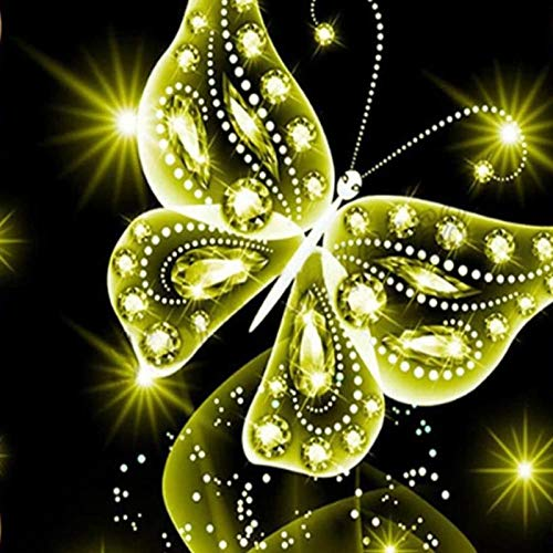 Lazodaer - Kit de pintura de diamante para niños, adultos, decoración de la habitación del hogar, oficina, regalos para ella brillantes mariposa 3 30 x 30 cm