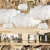 IJ INJUICY Modern Floating White Cloud Pendant Hanging Light Nordic Cotton Ceiling Light Fixture Girls Children's Living Room Bedroom Hotel Lobby Restaurant Clothing Store Chandelier (Dia. 15.7 Inch)
