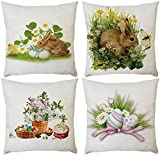 Dosoop Set of 4 Easter Bunny Pillow Cover Happy Easter Day Rabbit Bunny Throw Pillow Case Spring Season's Decoration Pillowcase Cushion Cover for Home Sofa Chair Bed 18x18 inch