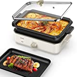 pentola multifunzione, 1400w griglia elettrica e hot pot, 2 in 1 grill fornello con piastra grill e pentola profonda senza olio per frittura, griglia, stufato, bollitura e vapore