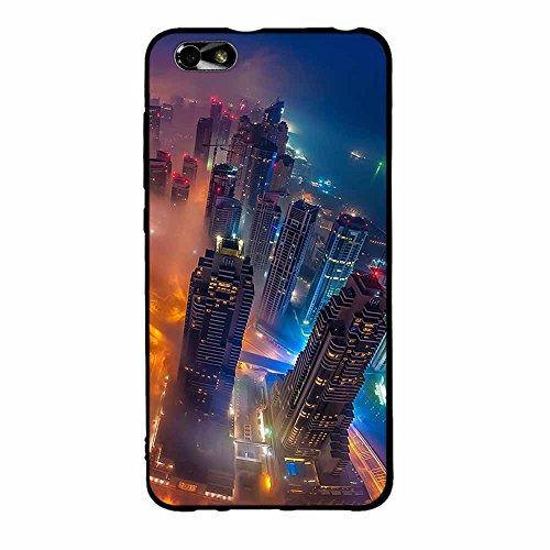 FUBAODA Huawei Honor 4X Glory Play 4X Hülle, [City Night View] 3D Minimalist Ultra Thin Lightest Black Grenze Fashion Creative Slim Flexibel für Huawei Honor 4X Glory Play 4X