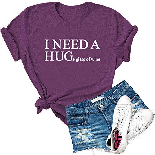 Dauocie, maglietta a maniche corte con scritta 'I Need A Enorme, con scritta 'I Need A Enorme bicchiere di vino - viola - L