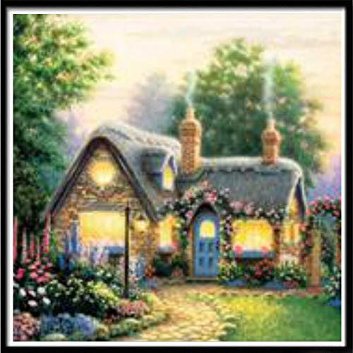 Abkbcw 5D Diamond Painting Cabin Landscape House Home FullRound Diamond Embroidery Mosaic Home Decor Pattern DIY Handmade New Year Gift 30X30cm