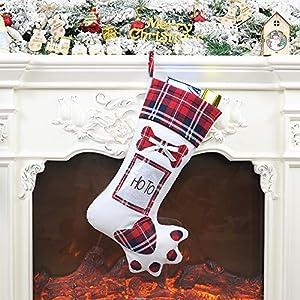 LAOOWANG Chaussettes de Noël à Suspendre pour Animal de Compagnie Motif Pattes de Chien 48 cm